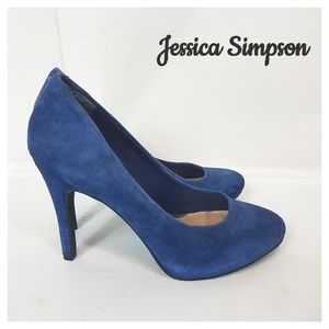 Jessica Simpson leather suede navy heels size 6.5